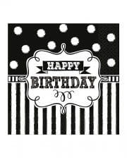 Happy Birthday napkins black and white 16 pcs