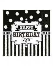 Happy Birthday Servietten Schwarz-Weiß 16 St.
