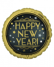 Happy New Year Satin Black Foil Balloon