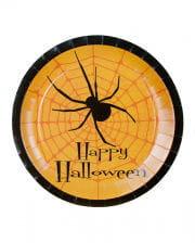 Happy Halloween Pappteller mit Spinne 8 St.