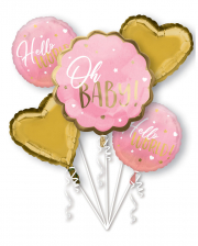 Hello World Foil Balloon Bouquet Pink