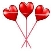Partypicker in heart shape 10 pieces