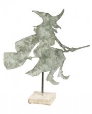 Hexe mit Besen Tischaufsteller aus Metall