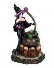 Hexe mit Hexenkessel Backflow Räucherkegel Halter