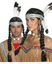 Indianer Perücke mit Zopf & Feder