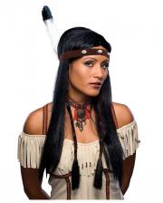 Indianerin Perücke mit Feder