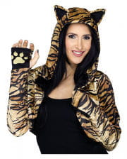 Hooded Stole With Tiger Pattern