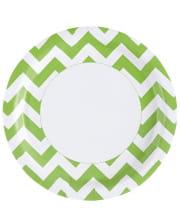 Kiwi Green Zig-Zag Paper Plate 8 Pc.