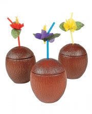 Coconut cocktail cup with lid