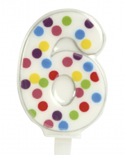 Confetti Number Candle No. 6 (6,5cm)