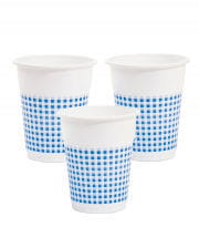 25 Plastic Cup White / Blue 350ml