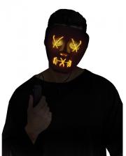 Leuchtende LED Maske Gelb - Schwarz