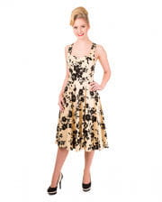 50`s halter dress with flowers beige / black