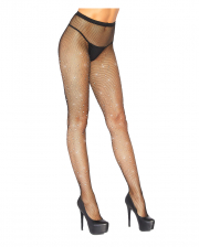 Fishnet Tights With Rhinestones Black