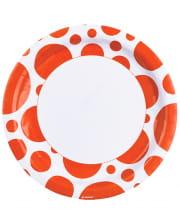 Orange Dots Paper Plates 8 Pcs.