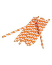 12 Paper Straws Orange White