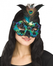 Peacock Mask With Feathers And Sequins