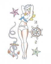 Pin Up Adhesive Tattoo With Sailor Motif