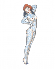 Pin Up Glue Tattoo Naked Girl