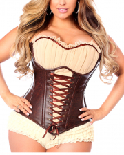 Pirate Full Breast Corset Brown-Beige