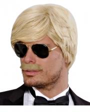 Playboy Herrenperücke mit Schnurrbart Blond