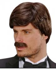 Playboy Herrenperücke mit Schnurrbart Braun