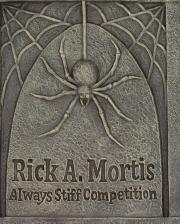 Rick A. Mortis Grabstein mit Spinne 70cm