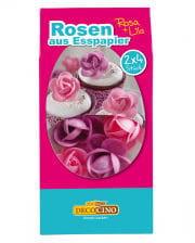 Rosen aus Esspapier rosa/lila