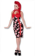 Rosen Kleid schwarz-rot