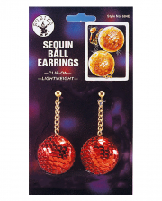Sequined ball earrings red
