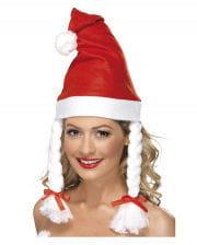 Weihnachtsmütze mit Zöpfen