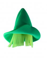 Grüner Elfen Schaumstoff Hut mit gelben Haaren