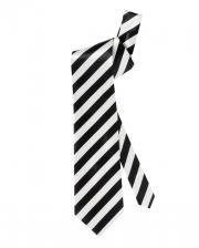 Tie Black White Striped