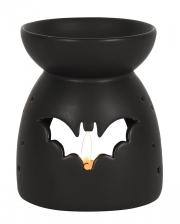 Schwarze Duftlampe mit Fledermaus Motiv