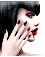 Black Fingernails With Blood Splatter 12 Pcs.