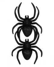 Schwarze Glitter Spinnen 2 St.