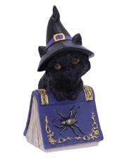 Black Witch Cat With Magic Book 12,7cm