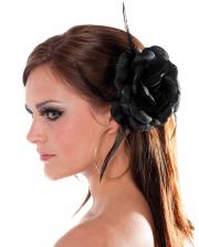 Schwarze Rose mit Haarclip & Haargummi