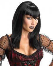 Vampir Glitter Perücke schwarz