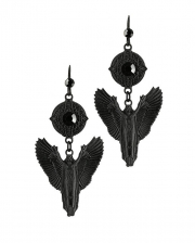 Black Gothic Angel With Wings Earrings