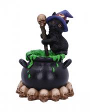 Black Kitten With Witch Cauldron 12cm
