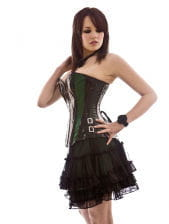 black vinyl corset with green satin stripes
