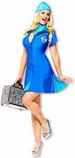 Sexy Stewardess Kostüm Blau