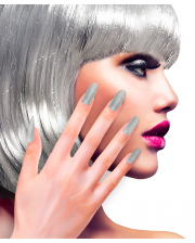 Glitter Fingernails Silver 12 Pcs.