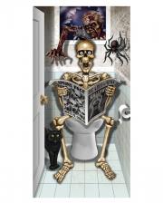 Skelett auf WC sitzend Türfolie