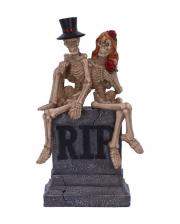 Skelett Brautpaar auf Grabstein 17cm