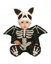 Skelett Fledermaus Babykostüm mit Flügeln