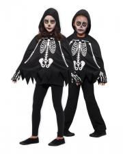 Skelett Kinder Poncho mit Handschuhe