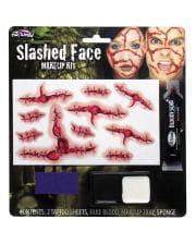 Slashed Face Makeup Set with tattoos