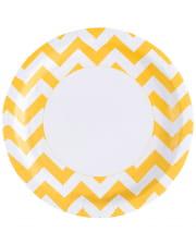 Summer-yellow Zig-zag Paper Plate 8 Pcs.